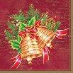 Салфетки за декупаж - Коледни камбани - Пакет от 20 броя -