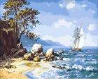 Рисуване по номера - Морски залив - Комплект за картина с размери 50 x 40 cm -