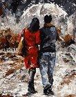 Рисуване по номера - Разходка под дъжда - Комплект за картина с размери 50 x 40 cm -