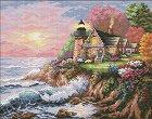 Щампован гоблен - Къщи край морето - Комплект за картина с размери 53 x 44 cm -