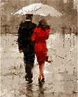 Рисуване по номера - Под дъжда - Комплект за картина с размери 50 x 40 cm -