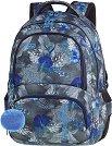 Ученическа раница - Spiner: Blue Hibiscus - Комплект с ключодържател - помпон -