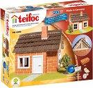 """Къща с дървена рамка за покрив - Детски сглобяем модел от истински тухлички от серията """"Teifoc: Classic"""" -"""