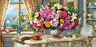 Натюрморт с летни цветя и чаша чай -