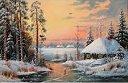 Рисуване по номера - Зима край реката - Комплект за картина с размери 40 x 50 cm -