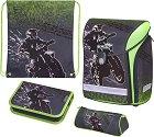 Ученическа раница - Midi: Motorcross - Комплект с 2 несесера и спортна торба -