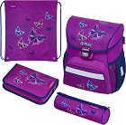 Ученическа раница - Loop: Glitter Butterfly - Комплект с 2 несесера и спортна торба -