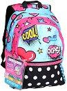 """Ученическа раница - Pop art - Комплект с 2 броя брокатено лепило за декориране : От серията """"Plus Girl"""" -"""