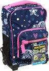"""Детски куфар-раница с колелца - Romantic Blue - Комплект с неонови стикери от серията """"Dr. Trolley"""" -"""