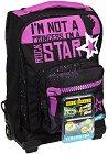 """Детски куфар-раница с колелца - Rockstar - Комплект с неонови стикери от серията """"Dr. Trolley"""" -"""