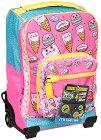 """Детски куфар-раница с колелца - Sweets - Комплект със неонови стикери от серията """"Dr. Trolley"""" -"""