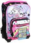 """Детски куфар-раница с колелца - Rainbow - Комплект със неонови стикери от серията """"Dr. Trolley"""" -"""
