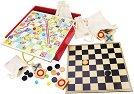 Колекция от класически игри  - Детски дървен комплект от 4 игри -