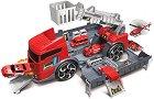Пожарен камион и пожарна станция - 2 в 1 - Детски писта с 2 колички -