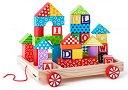 Дървена количка с кубчета - Детска играчка за дърпане -