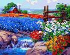 Рисуване по номера с акрилни бои - Цветна градина - Комплект за картина с размери 50 x 40 cm -