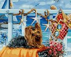 Рисуване по номера с акрилни бои - Йорки на плаж - Комплект за картина с размери 50 x 40 cm -