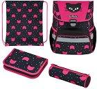 Ученическа раница - Loop Plus: Black Cat - Комплект със спортна торба и 2 несесера -