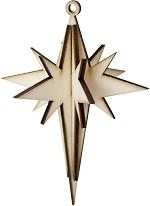 Сглобяема фигурка от шперплат - Коледна звезда - Предмет за декориране с размери 7.5 x 10.5 cm -