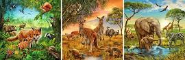 Животните по света - Три пъзела -