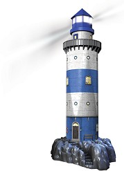 """Морски фар през нощта - Пъзел с LED светлини от колекцията """"3D световни забележилтености"""" -"""