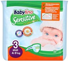 Babylino Sensitive - Midi 3 - Пелени за еднократна употреба за бебета с тегло от 4 до 9 kg -