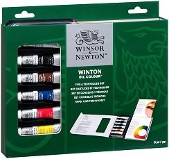 """Маслени бои със скицник и четка - Tips and Techniques Set - Комплект от 8 части от серията """"Winton"""" -"""