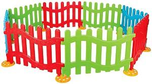 Сглобяема ограда за детски кът - Комплект от 8 цветни модула -