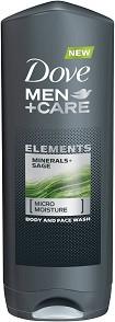 "Dove Men+Care Elements Minerals + Sage Body & Face Wash - Душ гел за мъже с минерали и градински чай от серията ""Men+Care Elements"" -"
