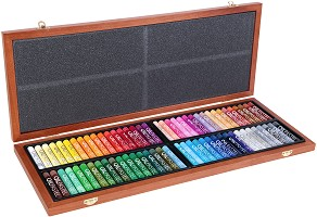 Маслени пастели в дървена кутия - Комплект от 72 цвята -