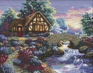 Щампован гоблен - Каменен мост - Комплект за картина с размери 66 x 54 cm -