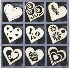 Дървени фигурки - Сърца - Комплект от 45 броя в кутия -