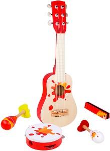 Звезда - Комплект детски дървени музикални инструменти -