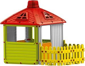Детска сглобяема къща за игра с ограда - Размери 132 / 158 / 104 cm -