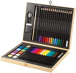 Комплект за рисуване  - В дървена кутия -