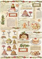 Декупажна хартия - Коледни сладкиши - Формат А4 -