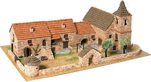 Диорама на църковен комплекс - Сглобяем модел от истински тухлички -
