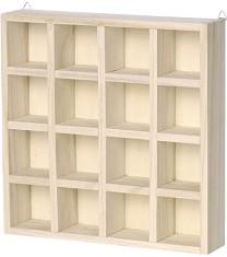 Дървена етажерка с 16 отделения - Предмет за декориране с размери 22 / 22 / 4.5 cm -