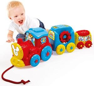 Влакче с активности - Мики Маус - Бебешка играчка за дърпане -