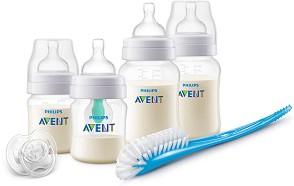 Комплект за новородено - Anti-Colic AirFree - С шишета, биберони, залъгалка и четка за почистване на шишета -