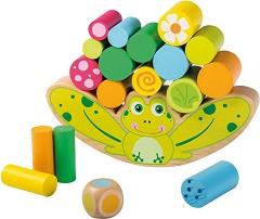 Жаба - Детска игра за баланс с дървени елементи -