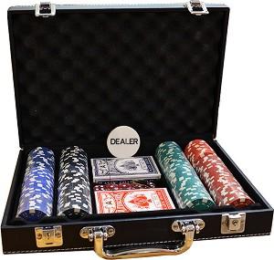 Комплект за покер в кожено куфарче - С 200 професионални чипа без номинали -