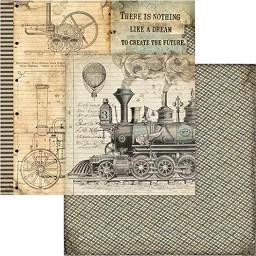 Хартии за скрапбукинг - Влак - Размери 30.5 х 30.5 cm -