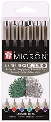 """Цветни тънкописци - Комплект от 6 цвята от серията """"Pigma Micron"""" -"""