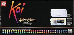 Акварелни бои - Studio Set - Палитра от 60 цвята и 2 четки с воден резервоар -
