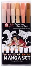 """Маркер с връх тип четка - Manga Set - Комплект от 6 цвята от серията """"Koi"""" -"""