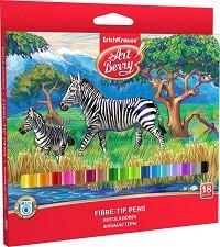Цветни флумастери - Art Berry - Комплект от 18 цвята -