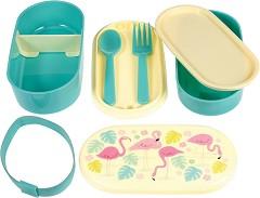 """Кутия за храна - Фламинго - Комплект с прибори за хранене от серията """"Flamingo"""" -"""