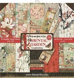 Хартии за скрапбукинг - Ориенталска градина - Комплект от 10 броя с размер 30.5 х 30.5 cm -