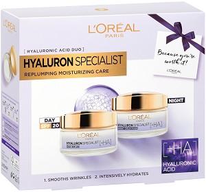 Подаръчен комплект - L'Oreal Hyaluron Specialist - Дневен и нощен крем с хиалуронова киселина -